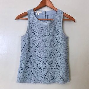 Baby Blue Floral Lace Sleeveless Blouse Top